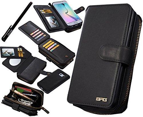 urvoix Galaxy S6Edge Fall, Premium Leder Reißverschluss Wallet Multifunktionale Handtasche abnehmbarer Magnetic Schutzhülle mit Flip Card Holder Cover für Samsung Galaxy s6edge G925 (Flap Card Leder Wallet)