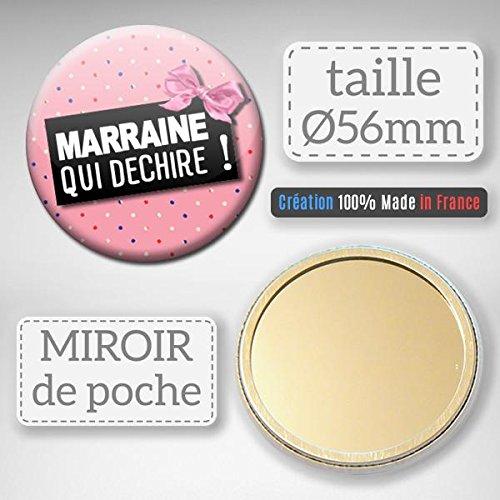 Marraine qui déchire Miroir de poche 56mm (Idée Cadeau Baptême Communion Noël)
