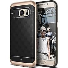 Coque Galaxy S7 Edge, Caseology [Série Parallax] Ultra Mince motif Géométrique Protection à double couche [Noir / Or - Black / Gold] Housse Etui Coque pour Samsung Galaxy S7 Edge (2016)