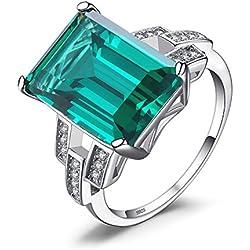 JewelryPalace Luxe en Forme de Emeraude Vert en Nano Russe Imitation Emeraude Cocktail Bague Véritable en Argent Sterling 925