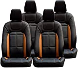 #6: Khushal Leatherite Car Seat Cover For Renault Kwid Ks057Rkwid Black/Orange With Free Steering Cover