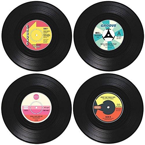 4Vinyl-Untersetzer RECORD CD Vintage Groovy Geschirr Bar Hot Drink Mats Tasse Deko Neuheit Bier Retro Cool Music Couchtisch Tasse