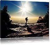 Dark Wintersport Sonnenuntergang, Ski in Abenddämmerung, Leinwandbild, Kunstdruck, Keilrahmen, Motive, Poster, riesig, gerahmt, Wandbild, Gemälde, Ölbild, Plakat, Format:120x80 cm