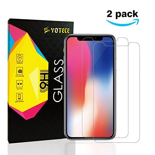 Panzerglas für iPhone X, iPhone 10 Schutzfolie [2 Stück],YOTECE Displayschutz für iPhone X display, Premium 9H, Utra Klar Glatt, Staub, Kratzern, Blasefrei, Anti-Fingerabdruck[5.8 Zoll]