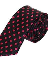 WZW Cravate Vintage / Soirée / Travail / Décontracté Polyester.Homme Rayé.Rouge Toutes les Saisons