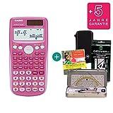 Streberpaket: Casio FX 85 GT Plus Pink + Schutztasche + Lern-CD + Geometrie-Set + Erweiterte Garantie