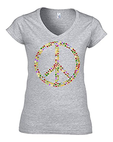 Fruit peace hippie sign old school t-shirt femme col V coton X-Large