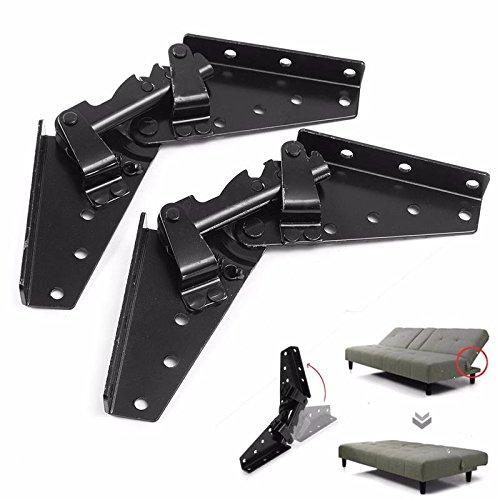 SODIAL Metall Stahl Schwarz Schlafsofa Bett Moebel Einstellbare 3-Position Winkel Mechanismus Scharnier Hardware - Bett-mechanismus
