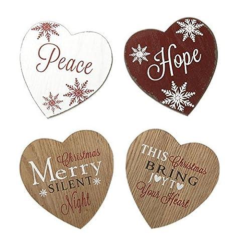 Christmas, 4-er Set, in Herzform, mit Untersetzer, schönes Accessoire für Weihnachten