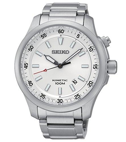 Seiko Kinetic para hombre-reloj analógico de cuarzo de acero inoxidable SKA683P1