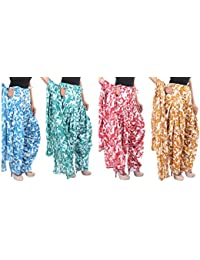 Fashion Store Women Printed Solid Cotton Full Multi-Colored Patiala Salwar With Dupatta Set Of 4(Free Size, Multi-Colored) - B077GTP2RR