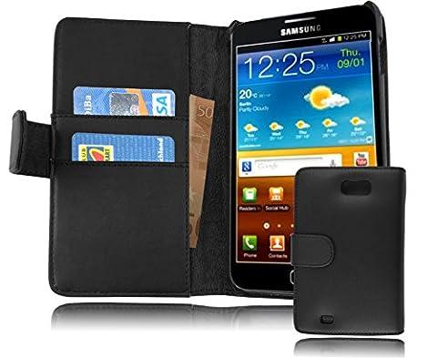 Cadorabo - Etui Housse pour Samsung Galaxy NOTE 1 (N7000) - Coque Case Cover Bumper Portefeuille (avec fentes pour cartes) en NOIR DE