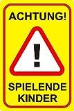 Hinweis-Schild Achtung! Spielende Kinder I hin_075 I Größe 40 x 60 cm I Warnschild Spielstraße Spielplatz I Vorsicht Kinder langsam fahren