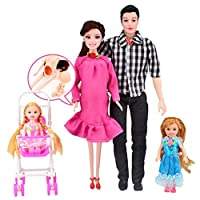 HUHU833 Pink Dress Real Pregnant Doll MOM & DAD & Daughter Family Toys Set For Barbie (Pink)