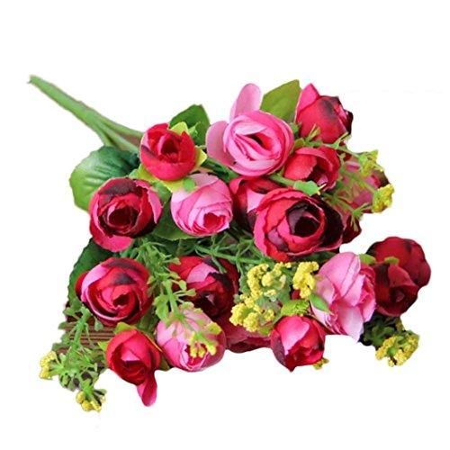 Flores Artificiales,Xinan 1x 21 Cabezas Decor del Hogar Flores Decorativas (Rosa Caliente)