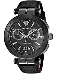 Versace Men's 'AION CHRONO' Quartz Stainless Steel and Leather Casual Watch, Color:Black (Model: VBR030017)