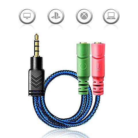 AOSO Câble Adaptateur Jack 3.5mm Mâle vers 2 Femelle pour Gaming Headset, Xbox One, PS4, Smartphones et ordinateur portable - Bleu