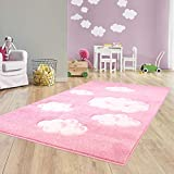 Taracarpet Kinder Teppich für Das Kinderzimmer Bueno Hochwertig mit Konturenschnitt Rosa verträumte Wolken 160x230 cm