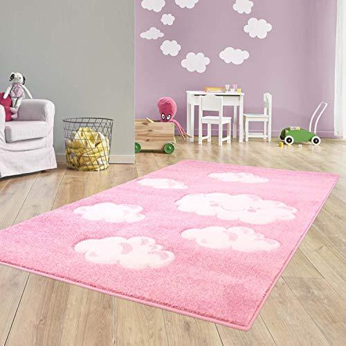 Taracarpet Kinder Teppich für Das Kinderzimmer Bueno Hochwertig mit Konturenschnitt Rosa...