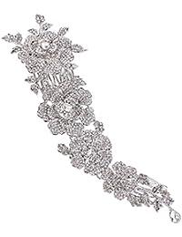 EVER FAITH® Mujer de cristal austríaco de 8 pulgadas de flores elegantes de la boda Peinado lado peine claro de plata de tono N08063-1