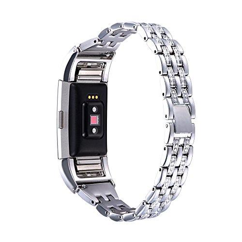 Bandmax Armband für Fitbit Charge 2, Kristall Metall Gliederarmband Uhrenarmband Ersatzarmband Watch Band für Fitbit Charge 2, Silber -