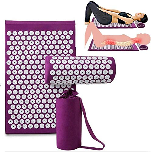 QIYU Akupressurmatte & Kissen Set, Acupressure Mat Acupuncture Mat for Back, Neck Pain Relief Stress Reduction Massage Therapy Yoga Pad with Pillow