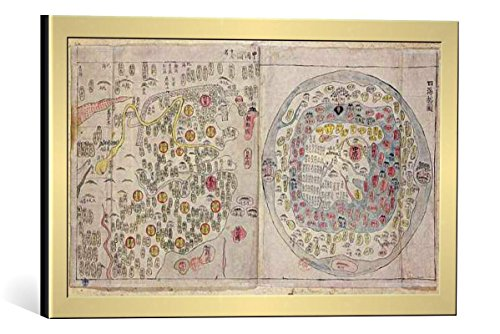 framed-art-print-korean-school-sino-korean-world-map-c1800-decorative-fine-art-poster-picture-with-h