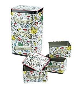 Natives 700850 Lot de 3 Boîtes à thé empilable Céramique, Multicolore, 8,5 x 8,5 x 13 cm
