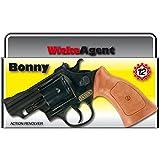 12 Schuss Bonny Revolver 238 mm schwarz-braun Agenten Pistole Task Force Waffe Knarre Spielzeugpistole