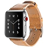 Armband für Apple Watch 42mm (44mm Series 4), Apple Watch Armband Leder Armband Vintage Echtleder Uhrenarmband für iWatch Series 4,Series 1, Series 2, Series 3, Apple Watch Sport Edition & Nike+ Brown