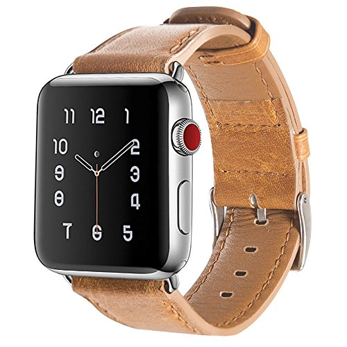 Armband für Apple Watch 42mm (44mm Series 4), Apple Watch Armband Leder Armband Vintage Echtleder Uhrenarmband für iWatch Series 4,Series 1, Series 2, Series 3, Apple Watch Sport Edition & Nike+ Brown