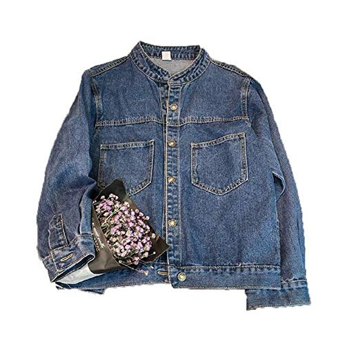 RLWQLFS Giacca di Jeans New Spring Autunno Denim Giacche Donna Vintage Casual Basic Coat Femminile Allentato Jean Jacket Women Wholesale Bomber Jacket, 3l