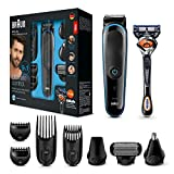Braun 9-in-1 All-in-one Trimmer MGK3085, Beard Trimmer and Hair Clipper, Body Groomer, Black/Blue