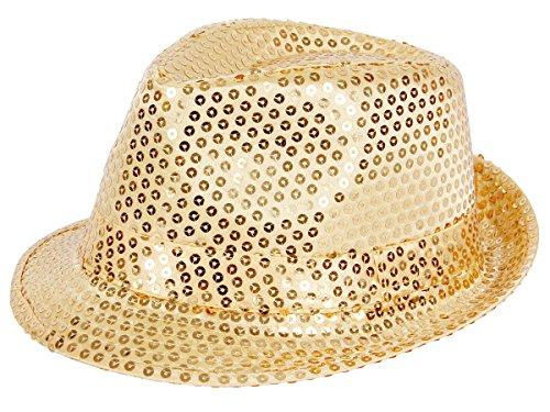 Pailettenhut Pailletten Hut Partyhut Paillettenhut Trilby Glitzerhut Discohut Glitter, Farbe wählen:TH-61 gold (Kostümen Gelben Dem Mann Hut Mit)