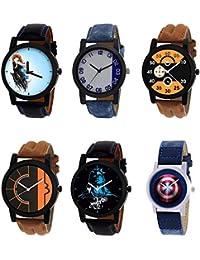 NIKOLA Treading 3D Design Mahadev Captain America Black Blue And Brown Color 6 Watch Combo (B22-B40-B13-B17-B23...