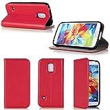 Samsung Galaxy S5 Mini 4G/LTE Hülle rot Tasche Cover mit Stand - Zubehör Etui Galaxy SV mini Flip Case Schutzhülle Wifi/3G/4G/LTE - XEPTIO accessoires (Pu Leder - red rot) - Vorbestellen