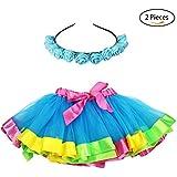 Flying Childhood Rainbow Tutu Skirt With Headband Layered Ruffle Tiered-Girls Princess Ballet Dance Dress Costumes (Blue)