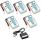 HOBBYTIGER 3.7V 800mAh Lipo Battery 25C ( 5PCS ) + 5 in 1 Battery Charger for SYMA X5SW X5SC CX30W RC Quadcopter