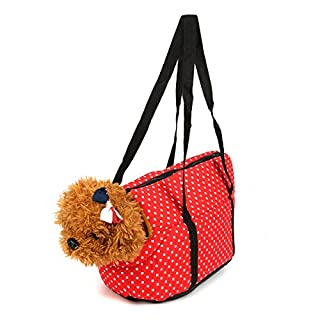 Tutoy Padded Pet Carrier Bag Nylon Waterproof Travel Zip Lock Carabiner Portable Safe - Red