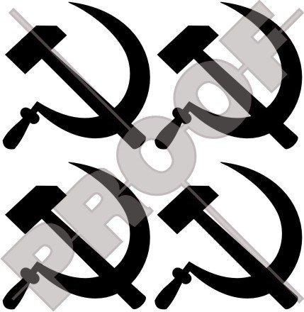 HAMMER & SICHEL Sowjetischer Kommunist 50mm Auto & Motorrad Aufkleber, Vinyl Stickers x4 - WAHL VON 22 FARBEN