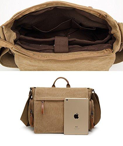 Herren Canvas Tasche Canvas Handtasche Schultertasche Ideal für Büro Canvas Laptop-Tasche Blau