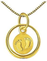 CLEVER SCHMUCK Set Goldener Taufring Ø 10 mm mit Einhänger Platte 2 Baby Füßchen und Zirkonia weiß glänzend 333 Gold 8 Karat und vergoldeter Kette Venezia 36 cm