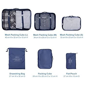 Langria 6 Sets Packing Cubes Foldable Travel Organiser Luggage Compression Pouches Suitcase Bag 3 Mesh Packing Cubes +1 X Packing Cube+1 X Drawstring Bag+1 X Flat Pouch (Navy Blue) 4