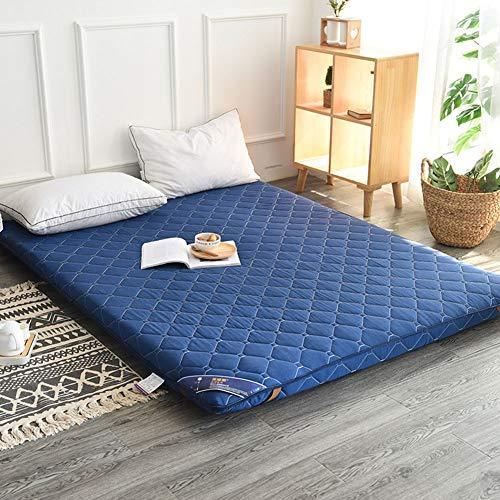 TENCMG traditionelle japanische Boden Futon Matratzen Isomatte, Tatami Mat Faltbare Roll-Up Matratze - Futon Memory Foam,Blue,150x200cm