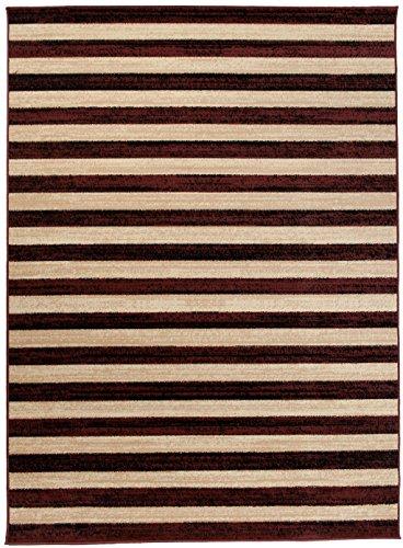 Art Deco Teppiche (Moderner Designer Teppich - Für Ihre Zuhause - Braun Beige - 200 x 300 cm - Geometrisches Streifen Muster -