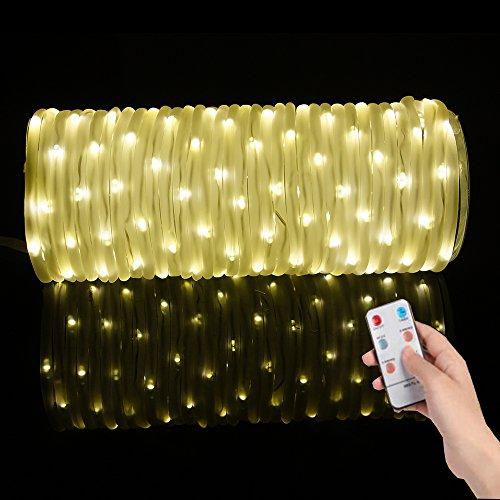 Salcar led stringa luminosa 10m 136 leds, led tubo di luce con 8 modalità, led luce decorativa interno ed esterno ip44 impermeabile per giardino, balcone, piscina, natale, matrimonio (bianco caldo)