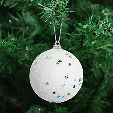 White Christmas Tree Hanging Pendant Baubles Decoration Ornaments (8 x Star Snowball Baubles)