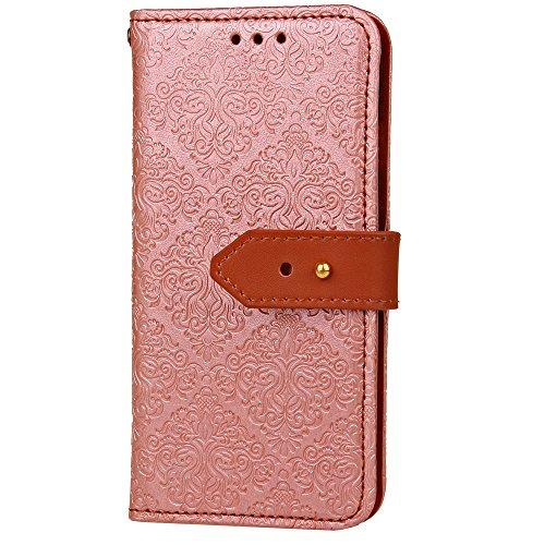 EKINHUI Case Cover European Mural Embossed Style Flip Stand Decke Geldbörse Tasche mit nivellierten Niet Leder Gürtelschnalle für Samsung Galaxy Note 8 ( Color : Rose ) Rosegold