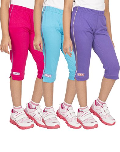 OCEAN RACE Girls Stylish attarctive Colors Cotton Capris(3/4 Th Pant)-Pack of 3-15182-2/3YRS
