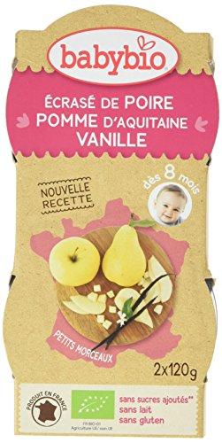 Babybio Bols Ecrasé de Poire Pomme d'Aquitaine/Vanille 240 g - Lot de 8